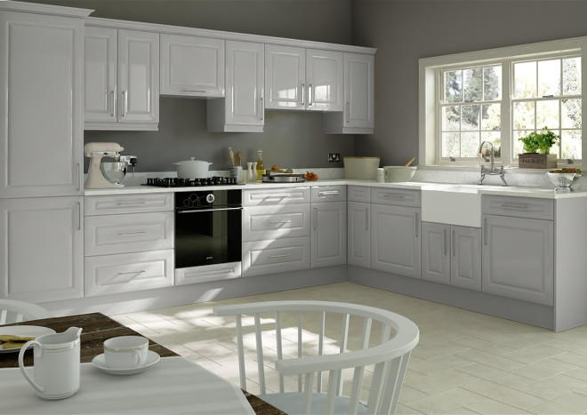 Amberley High Gloss Light Grey Kitchen Doors