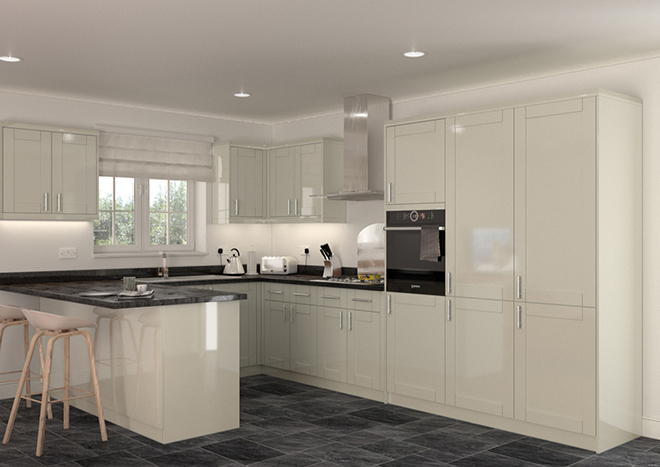 Arlington High Gloss Ivory Kitchen Doors