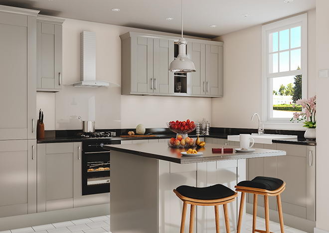Arlington High Gloss Pebble Grey Kitchen Doors