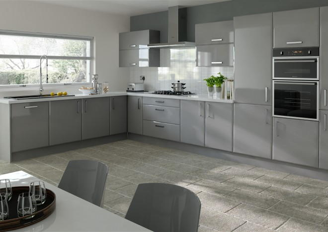 Brighton High Gloss Anthracite Kitchen Doors Made To Measure From - Anthracite grey kitchen