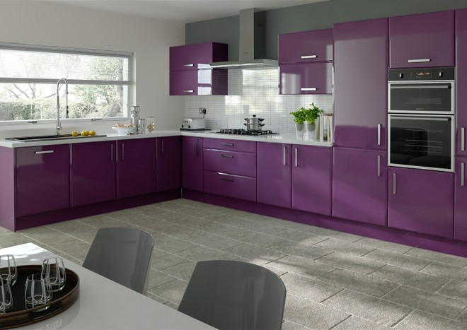 Brighton high gloss aubergine kitchen doors from for Black and purple kitchen ideas