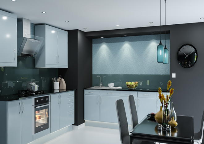 Brighton High Gloss Denim Blue Kitchen Doors Made To