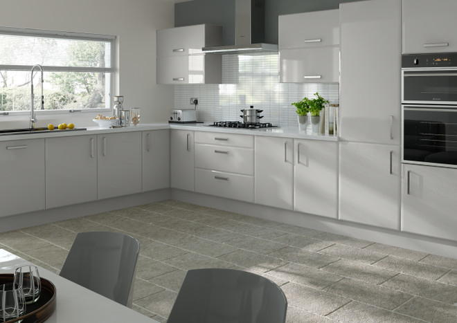 Brighton High Gloss Light Grey Kitchen Doors Made To Measure From - Light grey kitchen doors