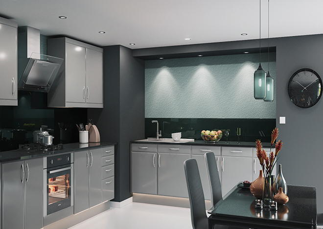Brighton High Gloss Pebble Grey Kitchen Doors