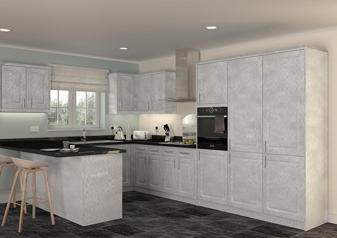 Buxted Brushed Steel Kitchen Doors