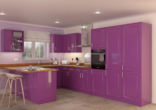Buxted High Gloss Aubergine Kitchen Doors From Made To Measure