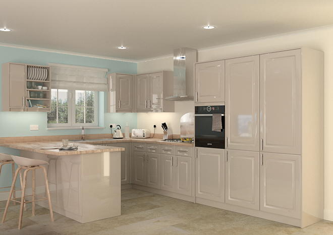Buxted High Gloss Cashmere Kitchen Doors