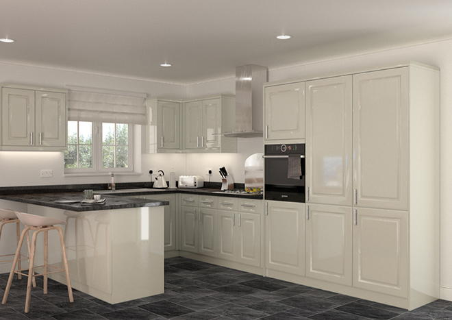 Buxted High Gloss Ivory Kitchen Doors
