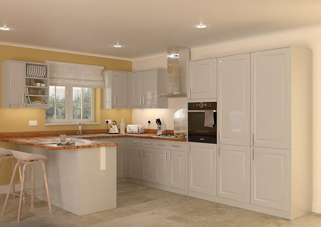 Buxted High Gloss Light Grey Kitchen Doors