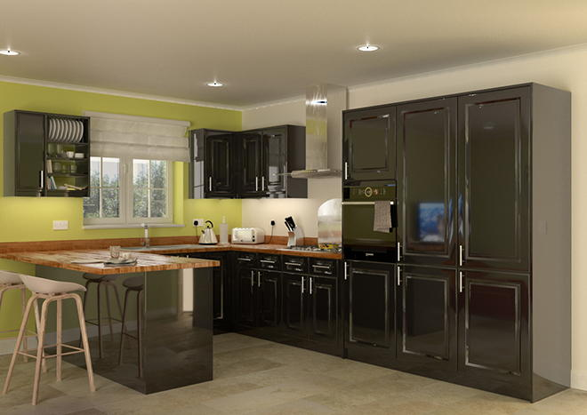 Cathedral High Gloss White Kitchen Doors