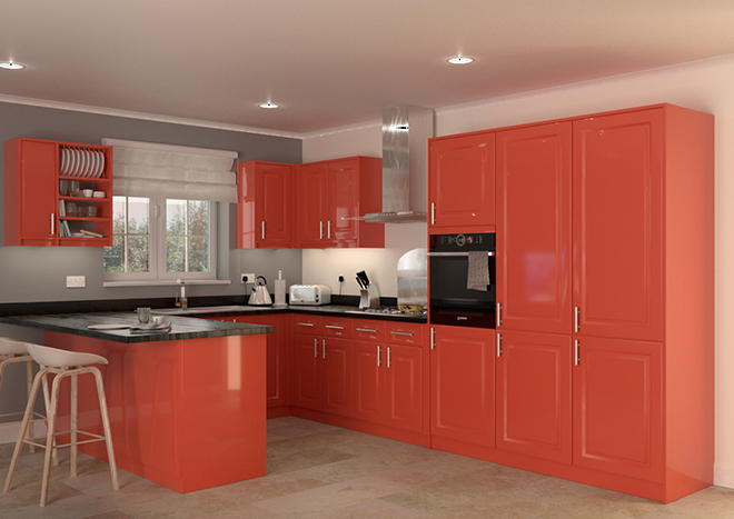 Buxted High Gloss Red Kitchen Doors From Made To Measure
