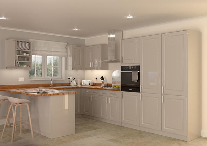 Buxted high gloss stone grey kitchen doors from made to measure Howdens kitchen design reviews