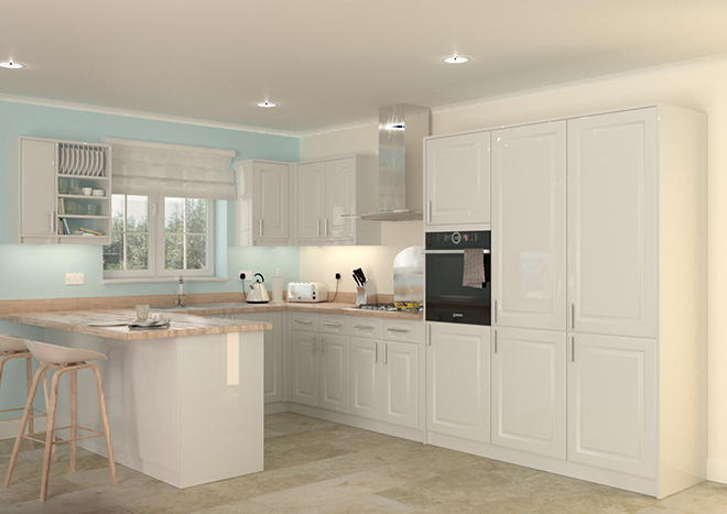 Buxted High Gloss White Kitchen Doors
