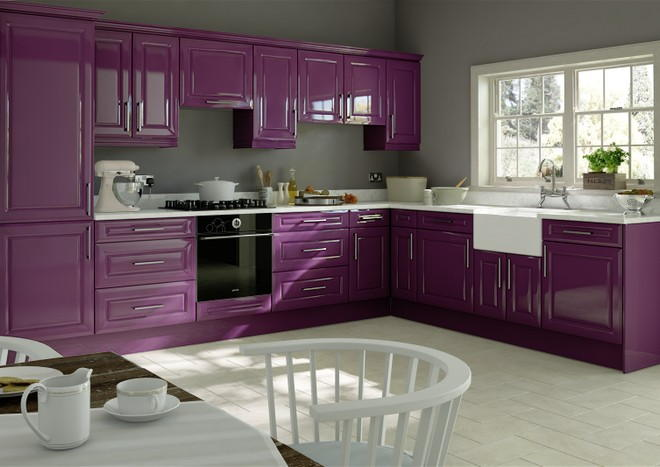 Chichester high gloss aubergine kitchen doors from for Aubergine kitchen cabinets