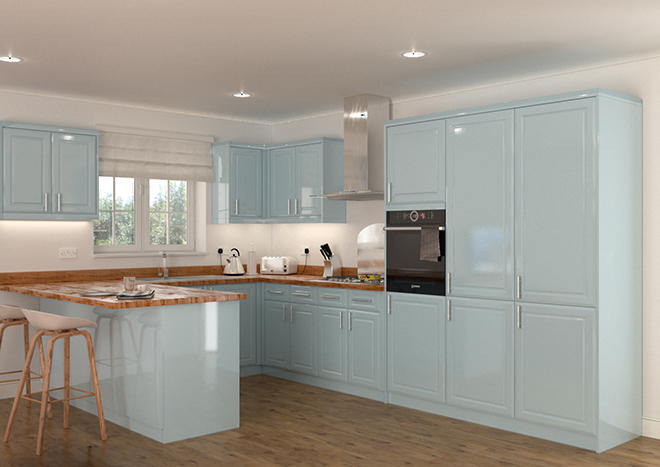 Chichester High Gloss Denim Blue Kitchen Doors