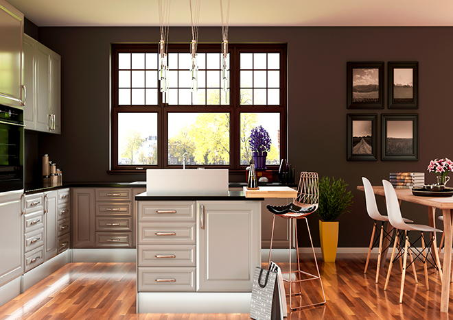 Chichester High Gloss Pebble Grey Kitchen Doors