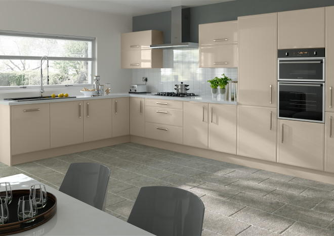 Durrington High Gloss Cashmere Kitchen Doors