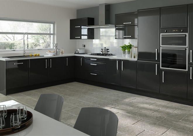 durrington high gloss metallic black kitchen doors from made to
