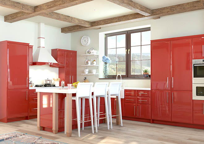 Durrington High Gloss Red Kitchen Doors From Made To Measure
