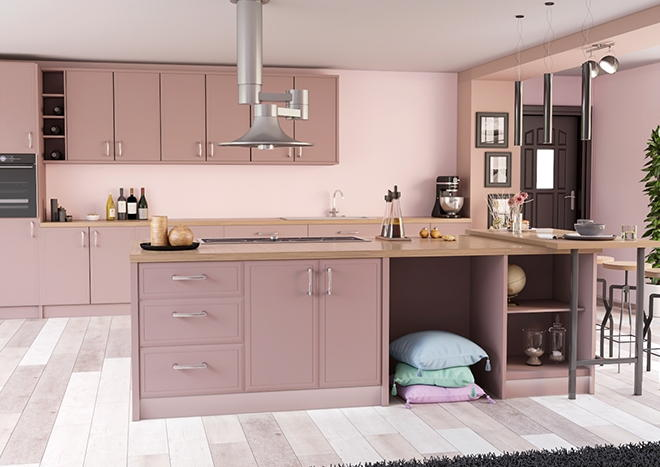 Durrington TrueMatt Dusky Pink Kitchen Doors