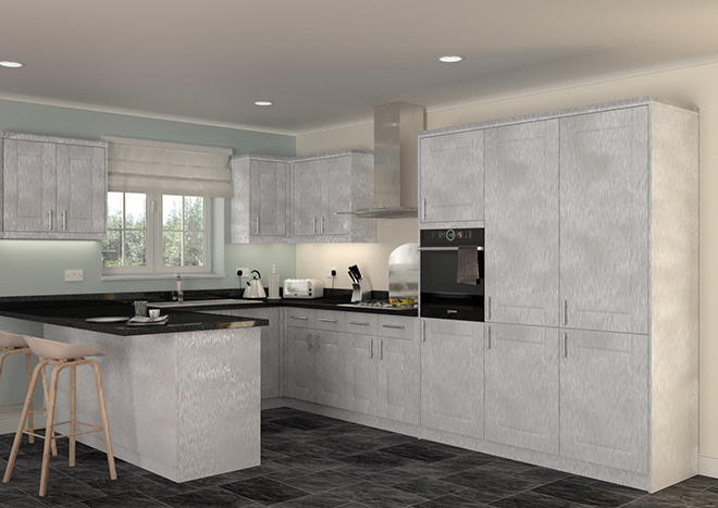 Fairlight Brushed Steel Kitchen Doors
