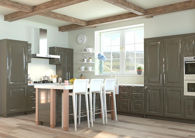 Fontwell High Gloss Graphite Kitchen Doors