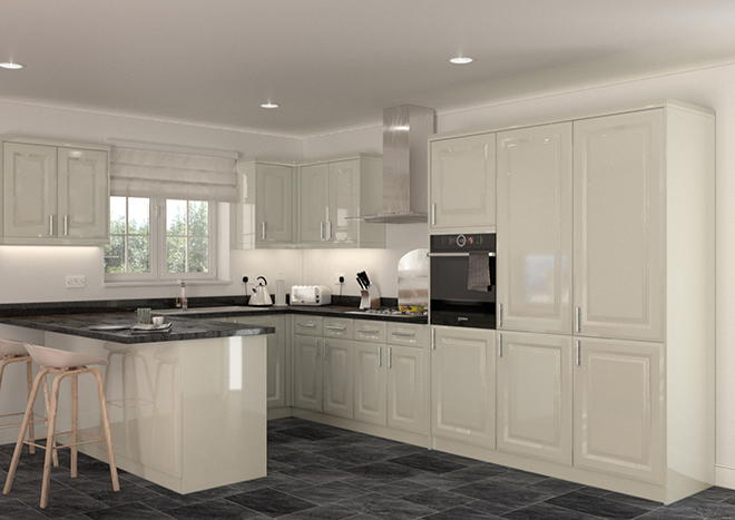 Fontwell High Gloss Ivory Kitchen Doors