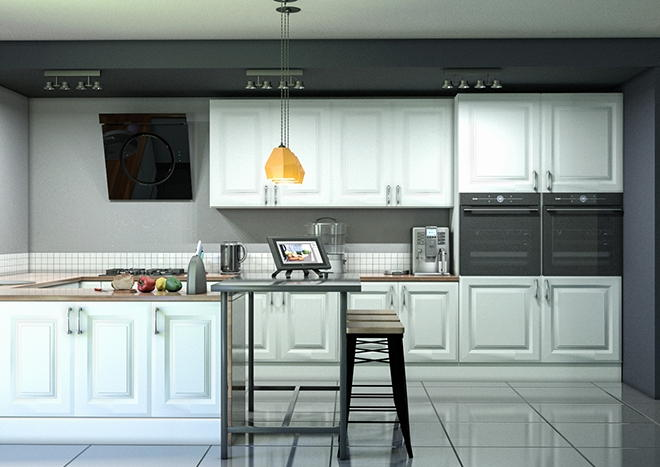 Fontwell TrueMatt White Grey Kitchen Doors