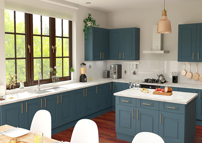 Goodwood TrueMatt Marine Blue Kitchen Doors