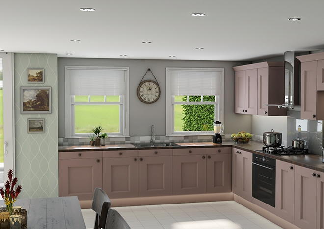 Kingston TrueMatt Dusky Pink Kitchen Doors