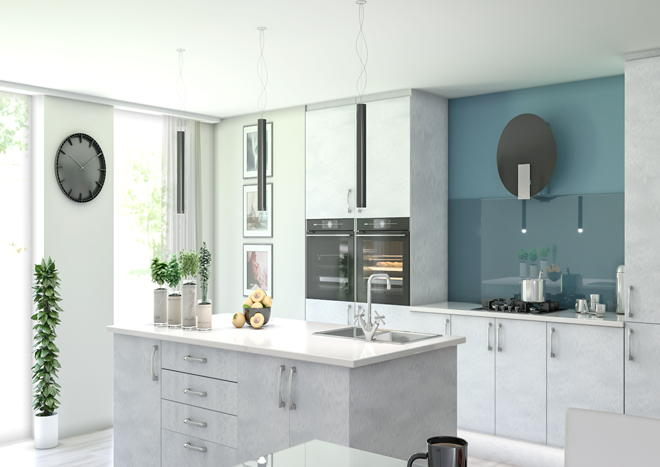 Lewes Brushed Steel Kitchen Doors