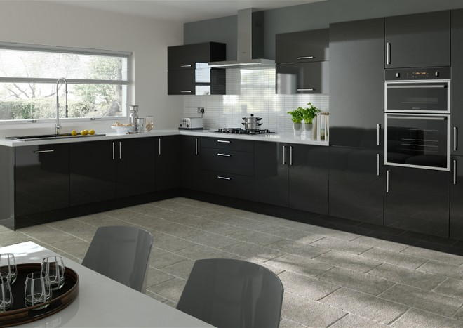 Lewes high gloss black kitchen doors from made to for Black gloss kitchen ideas
