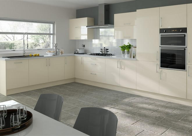 Lewes High Gloss Cream Kitchen Doors