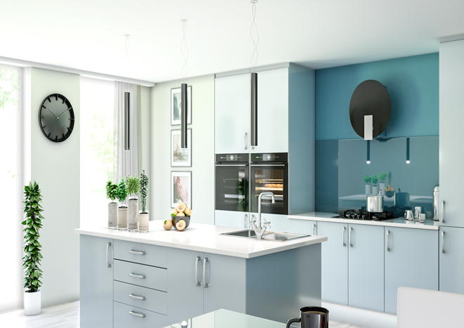 Lewes High Gloss Denim Blue Kitchen Doors Made To