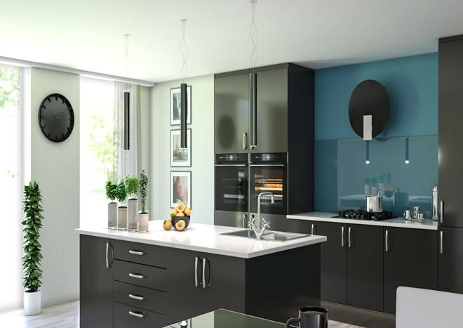 lewes high gloss graphite kitchen doors - High Gloss Kitchen Cabinets