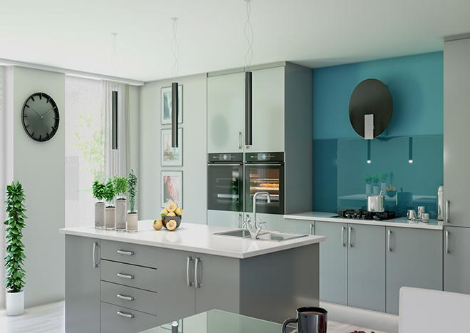 Lewes High Gloss Pebble Grey Kitchen Doors