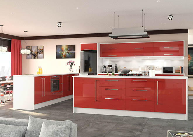 Lewes high gloss red kitchen doors from made to measure for Red high gloss kitchen doors