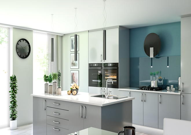 Lewes High Gloss Silver Kitchen Doors