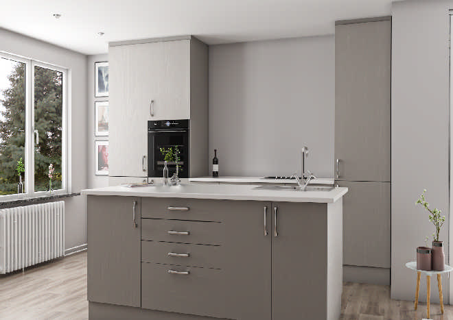 Lewes Legno Stone Grey Kitchen Doors