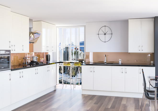 Newick High Gloss Ivory Kitchen Doors