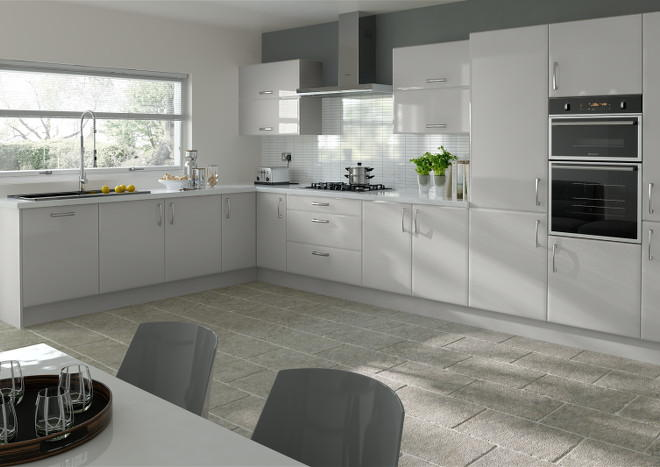 Newick High Gloss Light Grey Kitchen Doors