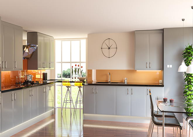Newick High Gloss Pebble Grey Kitchen Doors