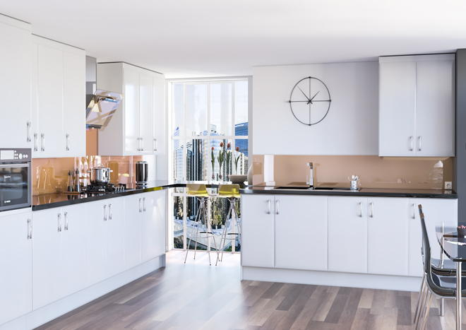 Newick High Gloss Silver Kitchen Doors