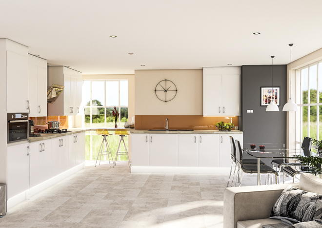 Newick High Gloss White Kitchen Doors
