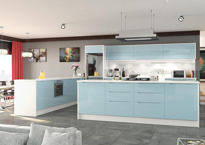 Petworth High Gloss Denim Blue Kitchen Doors