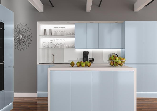 Ringmer High Gloss Denim Blue Kitchen Doors From