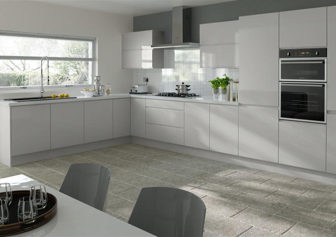 Ringmer High Gloss Light Grey Kitchen Doors Made To Measure From - Gloss grey kitchen units