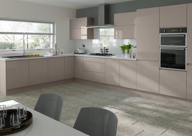 Ringmer High Gloss Stone Grey Kitchen Doors