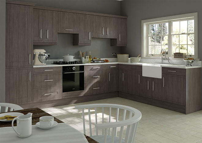 Ticehurst Avola Grey Kitchen Doors Made To Measure From - Grey wood kitchen doors