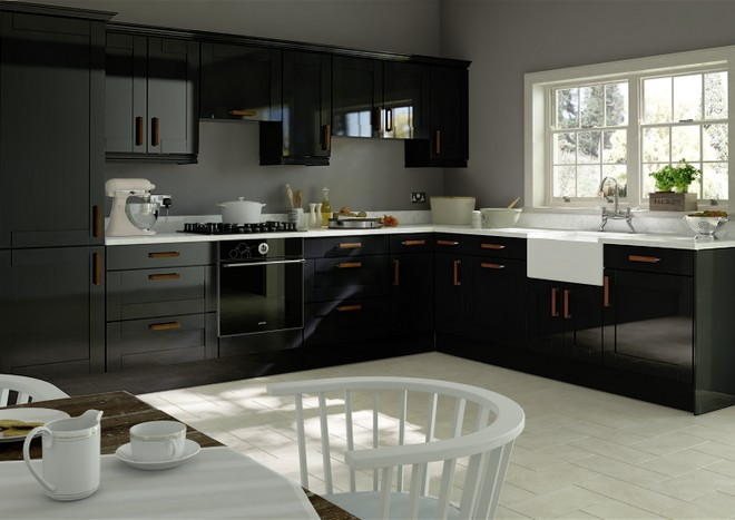 Washington high gloss black kitchen doors from made for Black gloss kitchen cabinets